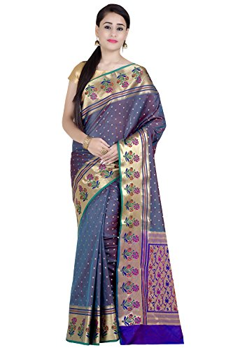 Chandrakala Women's Sea Green Kataan Silk Blend Banarasi Saree(1285SEA)