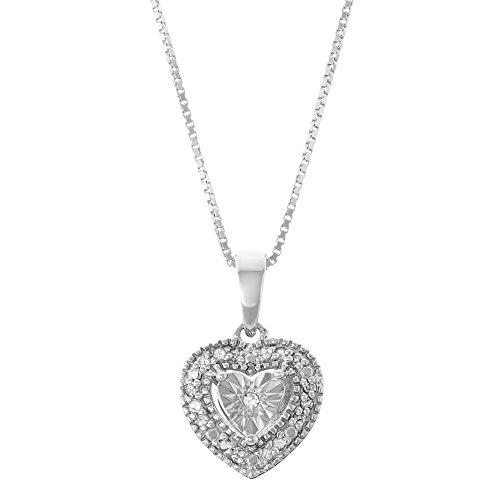 Solitaire Heart Diamond - Sterling Silver White Diamond Solitaire Look Heart Necklace