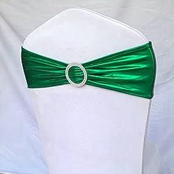 Maobangjix 100pcs Metallic Spandex Chair Band for Folding Banquet Lycra Universal Chair Covers (Emerald-green)