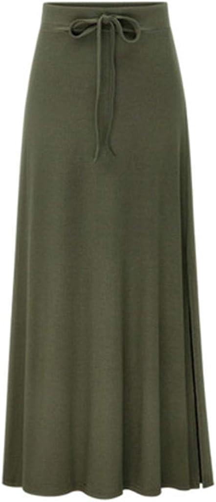 TUDUZ Mujer Faldas Largas Verano Enaguas Cintura Elástica Alta Adelgazante Apretado Color Sólido Falda Casual