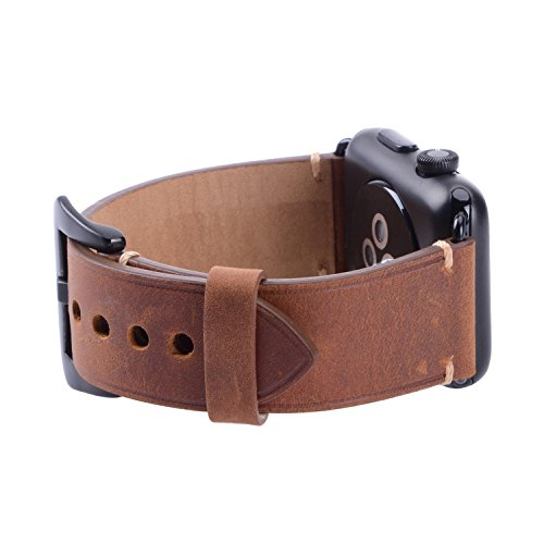 For 42mm Apple Watch Band, Genuine Leather iWatch Strap with Black Metal Clasp Buckle for Apple Watch Series 3 Series 2 Series 1 Sport Edition (42mm Dark Brown) by AMMZO (Image #2)