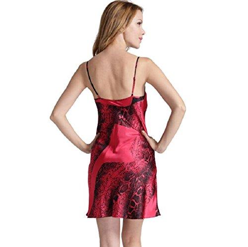 LJ&L De alta calidad en papel de seda con cuello en V comodidad respirable ocasional honda fresca baño de la falda de la ropa interior de señora,red,XL Red
