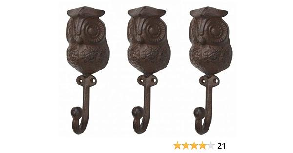 Vintage Cast Iron Swivel Owl Hanger Bracket Decorative Wall Hook in Original Box