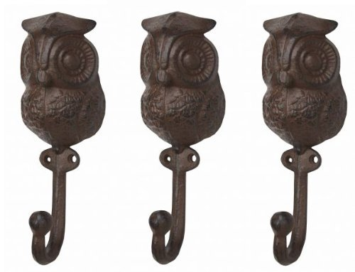 Wise Owl Wall Hooks Antique