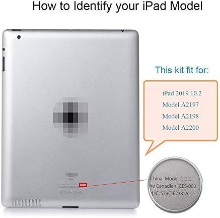 """Tefir Nero Digitizer Compatibile con iPad 10.2"""" 2019 iPad 7 7th Gen A2197 A2198 A2200 (Senza Pulsante Home) Assemblaggio Schermo tattile Touchscreen Frontale incl Kit Attrezzi"""