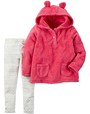 Carters Infant Girls 2 Piece Set Plush Pink Hoodie & Sparkle Leggings Outfit