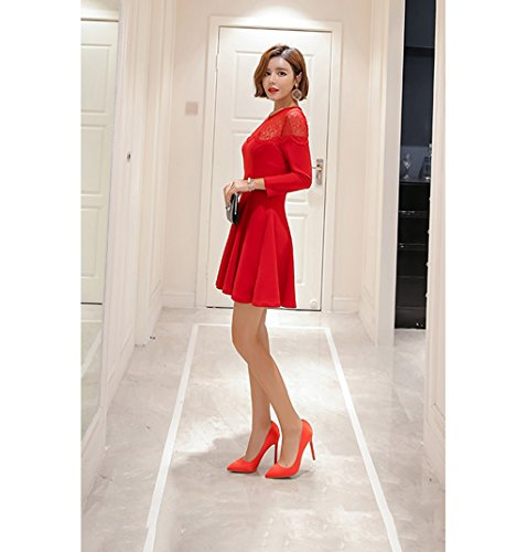 Shallow 5cm Toe Red Pointed 5cm Mouth Feminine Size 40 10 Sandals Red Elegant High Color 8 Heel Shoes Satin Shoes Shoes Sexy Bare 5cm 10 Wedding Feet E86qS6x