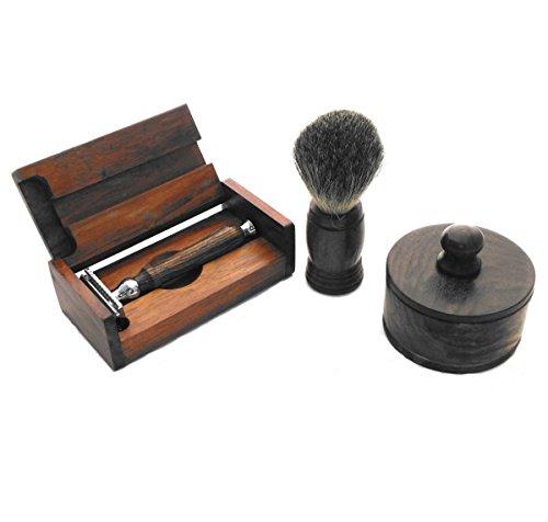 Evolution Island DE Safety Razor handmade with Brown Bocote Wood handle Shaving Set