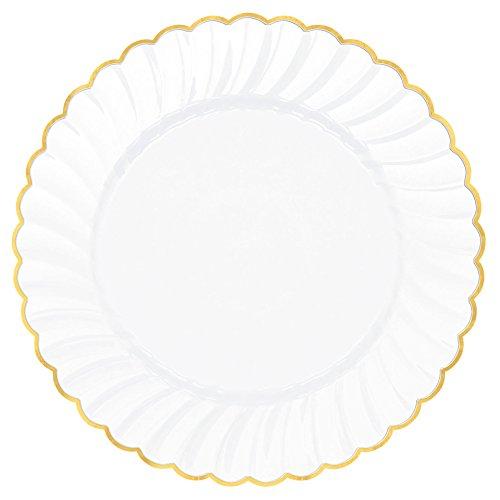 Amscan Premium Plastic White Scalloped Plates w/Gold Trim, 10 1/4