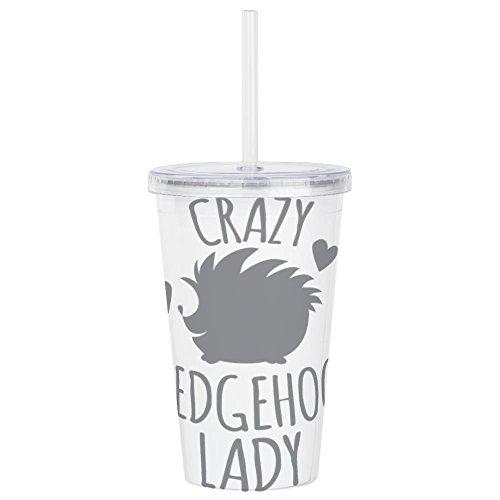 CafePress - Crazy Hedgehog Lady - Insulated Straw Cup, 20oz