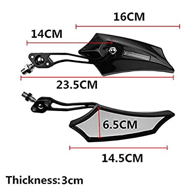 ESUPPORT Black Universal Motorcycle Motorbike Bike 8mm 10mm Rear View Side Mirror Scooter ATV: Automotive