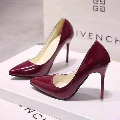 Large Color High Black Nude High Wedding Blue Shoes Red Heels High Size wine Female Patent Pointed Heeled VIVIOO Heels Shoes Leather With 10cm Shoes 6xtHFqzwwE