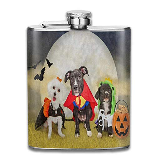 Stainless Steel Flask Hipster Puppy Dog Dressed In Halloween Costumes Whiskey Flask Vodka Portable Pocket Bottle Camping Wine Bottle 7oz Suitable For Men And Women