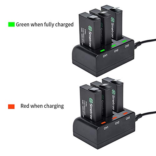 Smatree Rechargeable Battery with 3-Channel Charger Compatible with GoPro MAX (3 Pack)