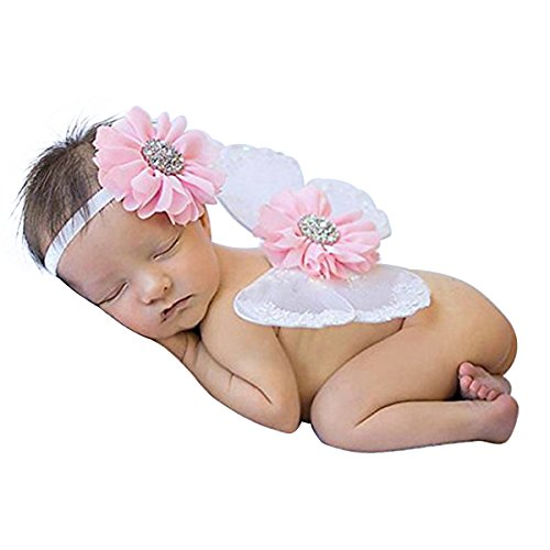 Lace Newborn Baby Butterfly Angel Wings with Hairband, Photography Props with Flower Headband Halo Set (White)
