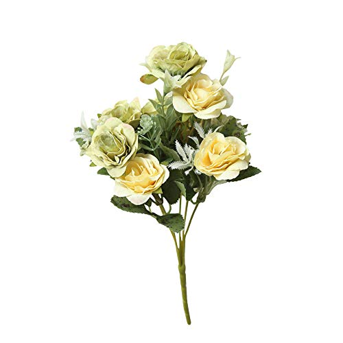Longay 8 Heads Artificial Fake Peony Silk Flower Bridal Hydrangea Home Wedding Decor (Green) ()