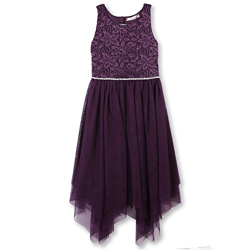 (Speechless Girls' Big Sparkle Waist Party Dress with Fairy Skirt, Grape)