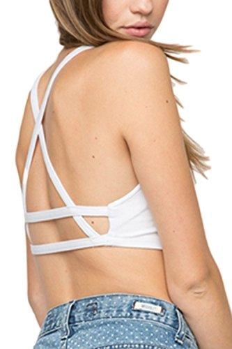 Las Mujeres Elegantes Backless Criss Cross Summer Tops Sujetador Bralette Taza Wireless White