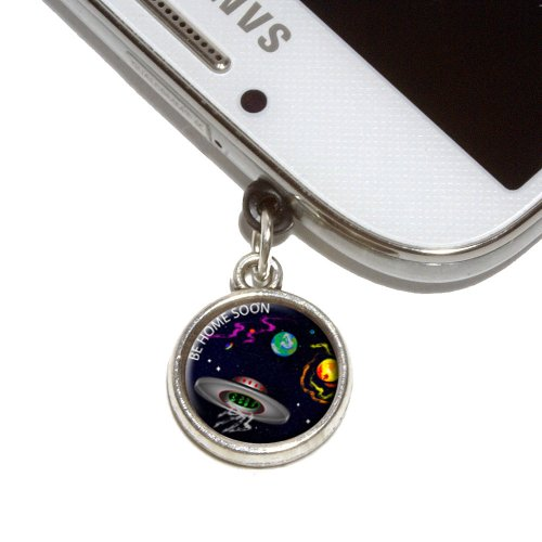 Saucer Charm - Flying Saucer UFO Planets Space Be Home Soon Mobile Phone Jack Charm Universal Fits iPhone Galaxy HTC
