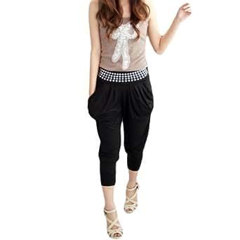 LOCOMO Women Black Rivet Waist Baggy Harem Mid Calf Legging Pocket S-M FFT077