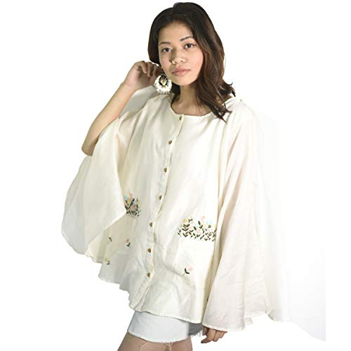 Living Roots Casual Cape Sleeve Embroidered Women White Top