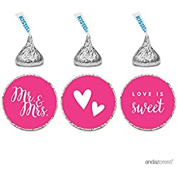 Andaz Press Chocolate Drop Labels Trio, Fits Hershey's Kisses, Wedding Mr. & Mrs., Fuchsia, 216-Pack, For Bridal Shower, Engagement Party Favors, Gifts, Stationery, Envelopes, Decor, Decorations