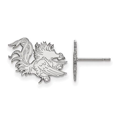 14k White Gold LogoArt Official Licensed Collegiate University of South Carolina (SC) Small Post Earrings by LogoArt