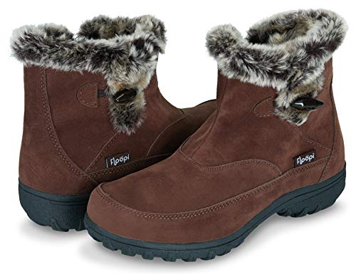 ather Cold Resistant Insole Fur Lined Zipper Ankle Boots W/Memory Foam (10, Brown-202) ()