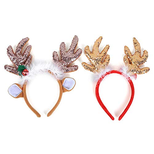 Christmas Ornaments Head Buckle Christmas Headband Costume Antlers Headbands Cute Christmas Headbands Packs Christmas Santa Claus Decoration Accessories Gifts with Halloween Christmas Festival Costume ()