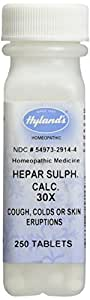 Hyland's Hepar Sulphate Calcium 30X Tablets, Natural Homeopathic Cough, Colds, and Skin Eruptions, 250 Count