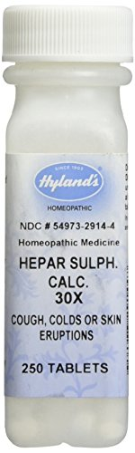 Hyland's Hepar Sulphate Calcium 30X Tablets, Natural Homeopathic Relief of Cough, Colds or Skin Eruptions, 250 Count