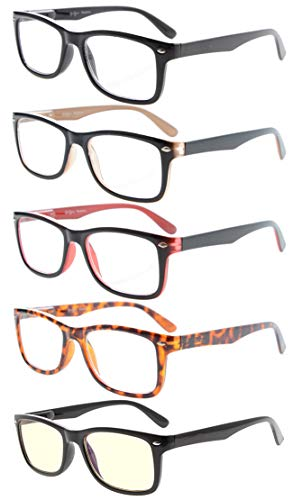 Eyekepper 5-Pack Classic Spring-Hinges Quality Reading Glasses Include Computer Readers +2.5 ()
