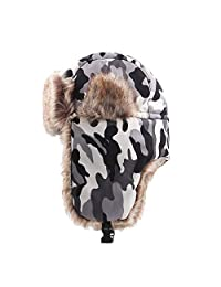 Winter Ushanka Trapper Hat camo Russian Style Bomber Ski with Earflap Afterso