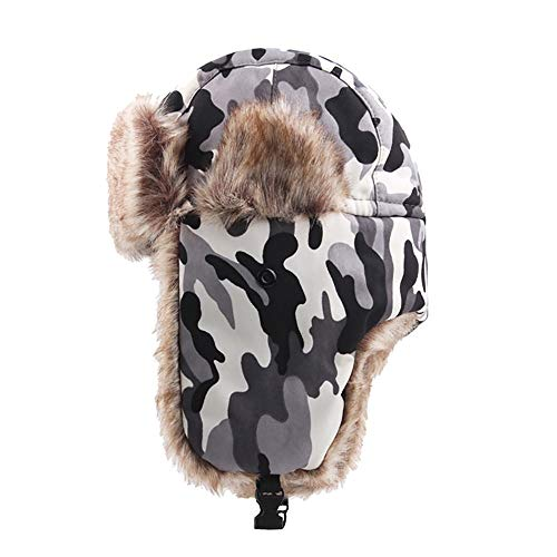 - FEDULK Winter Trapper Warm Hat Russian Style Camouflage Earmuffs Windproof Mask for Men and Women (A, One Size)