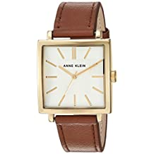 Anne Klein Women's AK/2736SVHY Gold-Tone and Brown Leather Strap Watch