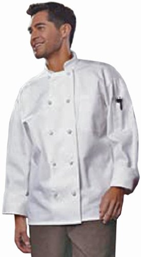 Uncommon Threads Unisex-Adults Plus Size Classic Knot With Mesh Chef Coat, White, 6XL