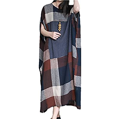 Discount Yesno JM0 Women Long Loose Plaid Skirt Dress Chinese Traditional Ancient Dress Pattern Patched 100% Linen/Side Pocket for cheap