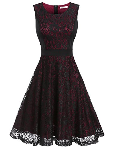 Red Fabulous Formal Evening Dress - Beyove Women's A-Line Elegant Pleated Lace Sleeveless Prom Dress for Cocktail Evening Party