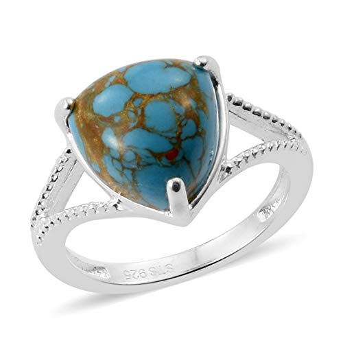Split Shank Solitaire Ring 925 Sterling Silver Trillion Blue Turquoise Gift Jewelry for Women Size 5