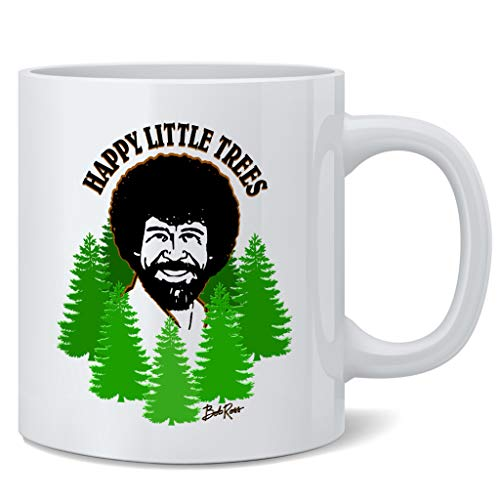 Bob Officially Licensed Ross Mug Happy Little Trees Cool Motivational Retro Vintage Style Positive Energy Ceramic Coffee…