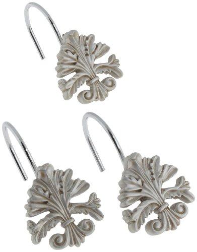(Carnation Home Fashions Fleur dis Lis Ceramic Resin Shower Curtain Hook, Silver)