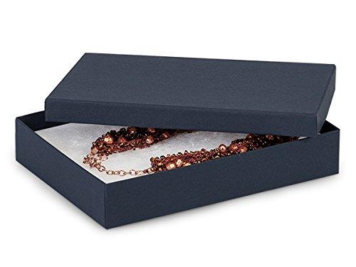 7x5x1-1/4 Blue Kraft Jewelry Box w/ Non-tarnish Cotton (Unit Pack - 100)