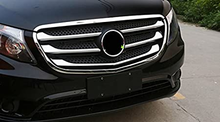 Not fit in The V-Class The Metris ABS Chrome Exterior Front Bottom Under Grill Grid Grille Decoration Cover Trims 8PCS Chromed Grill Trim Style Mercedes-Benz Vito W447 2014-2018