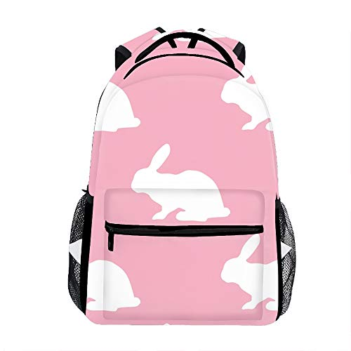 Cute Lightweight Pink Silhouette Of Bunny Bookbags School Backpacks for Teen Girls