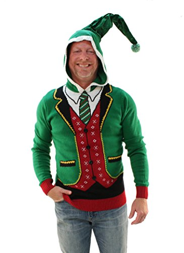 Ugly Christmas Sweater Men's Hoodie-Boss Elf, Emerald, M (Boss Christmas Party)