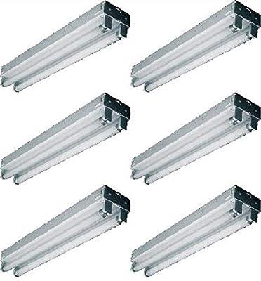 6pack LightingWise DL422 2 Foot Twin Tubes Open Strip T8 Light W E-Ballast DL422, bulbs not included