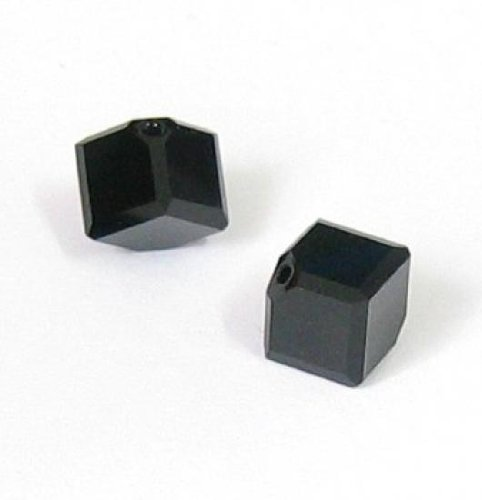 - 4 pcs Swarovski Crystal 5400 Diagonal Cube Bead Jet Black 4mm / Findings / Crystallized Element