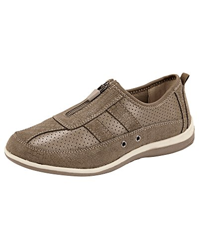 Cotton Traders Ladies Womens Leisure Flex Trainers Shoes Zip Front Fastening Eyelets Beige