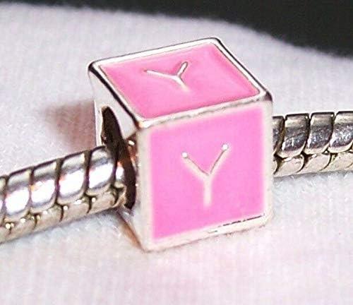 Alphabet Letter Y Initial Pink Enamel Cube Bead Gift for European Charm Bracelet