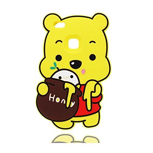 Custodia Huawei P10 Lite (Cartoon 3D orso Honey), TPU Flexible Durable gel di gomma , Cover Huawei P10 Lite Copertura case Shock Dust Resistant